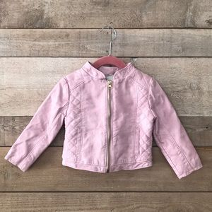 Girls 2T faux leather pink moto jacket